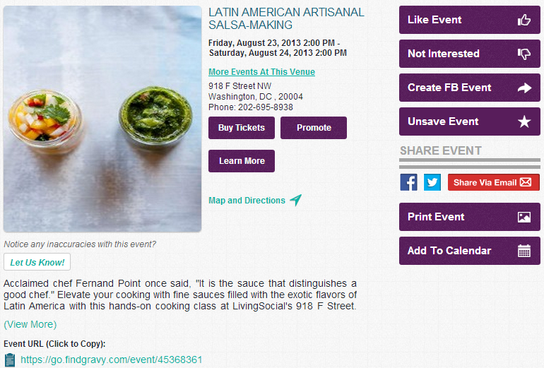 Event Description on FindGravy.com for Latin American Salsa Making