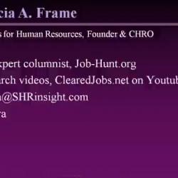 Patricia Frame, GovCon Careers Webinar in October of 2011